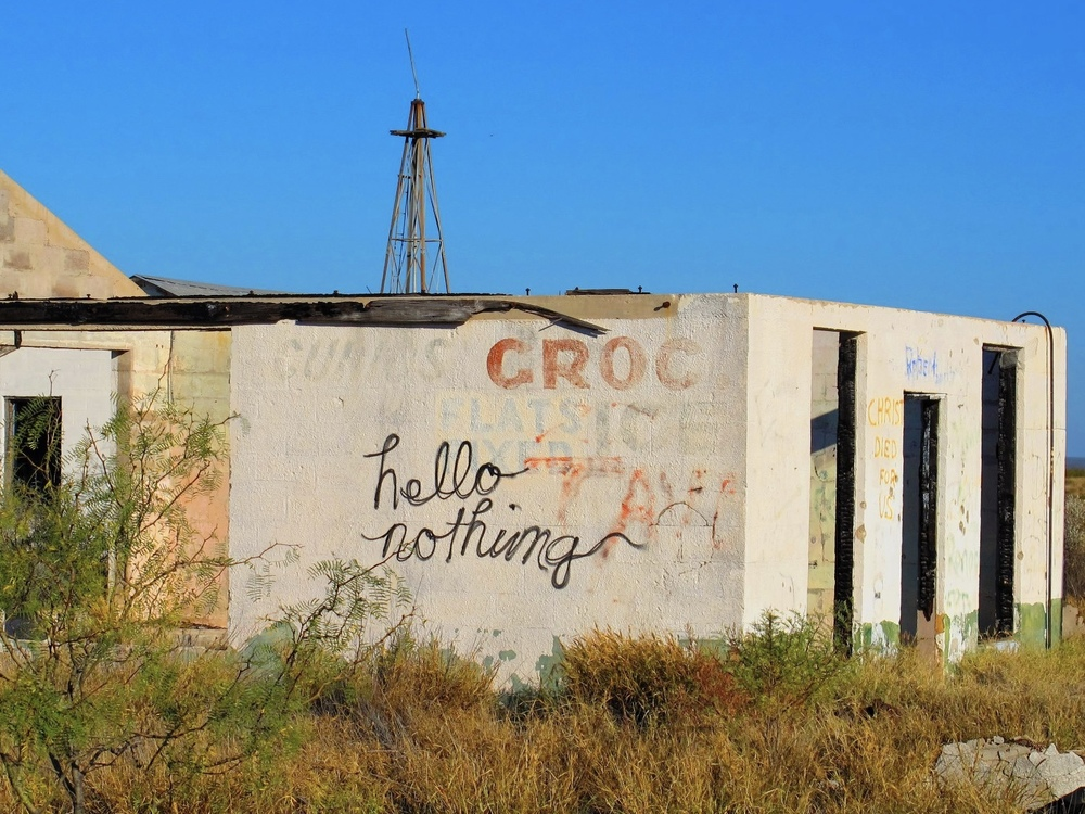 """hello nothing is the sign that welcomes me, and nothing it seems is all I see"" -- from Crossing the Rio Grande Photo by Kristin Davidson"