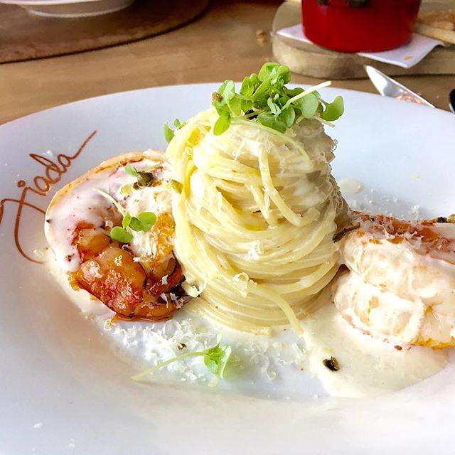 I definitely consumed this  lemon spaghetti  with jumbo prawns while dining Al Fresco at Giada's in Vegas!