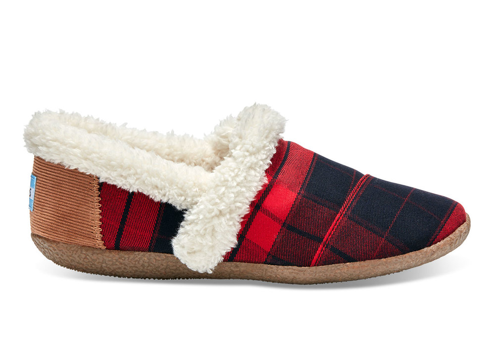Red & Black Plain Women's House Slippers