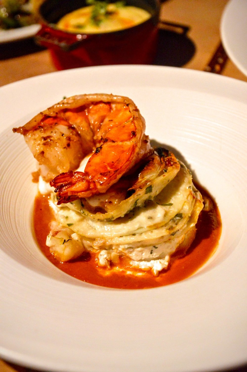 White Lasagna - with Jumbo Prawn, lemon ricotta, & spiced tomato broth