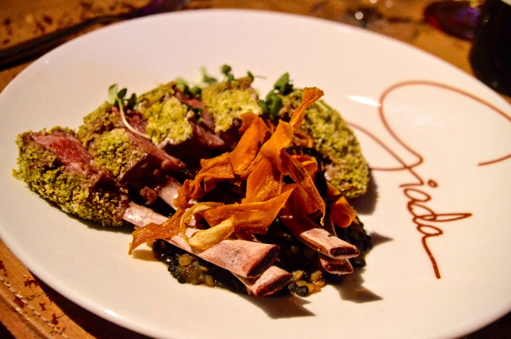 Rack of Lamb - Pistachio crusted, carrot puree & braised lentils