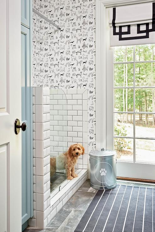 mudroom-dog-shower-thibaut-best-in-show-wallpaper-blue-cabinets.jpg
