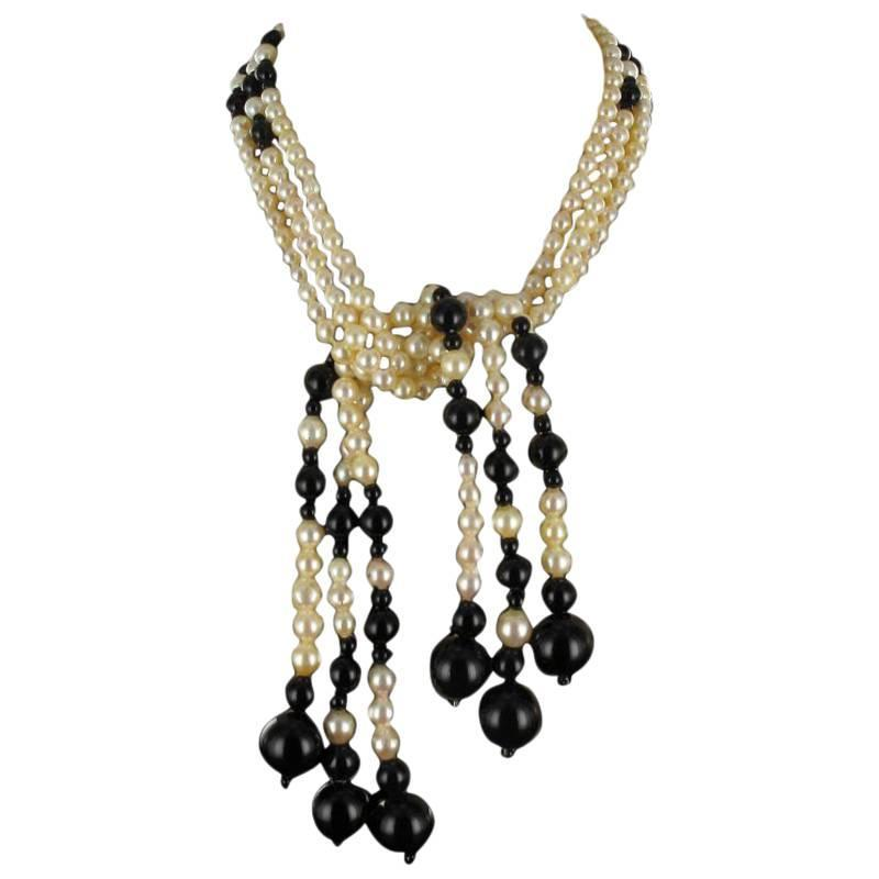 Onyx Pearl Long Necklace