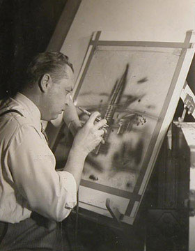 Arthur Radebaugh at his easel