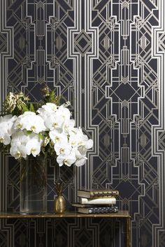 Art Deco Black and White Wallpaper