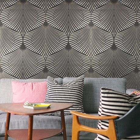 Metallic Art Deco Fans Wallpaper