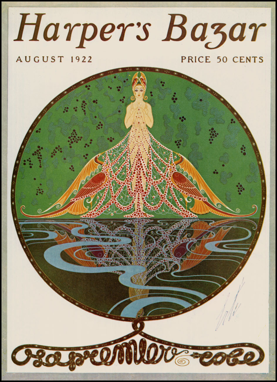 Art Deco Harper's Bazar cover by Erté, August 1922