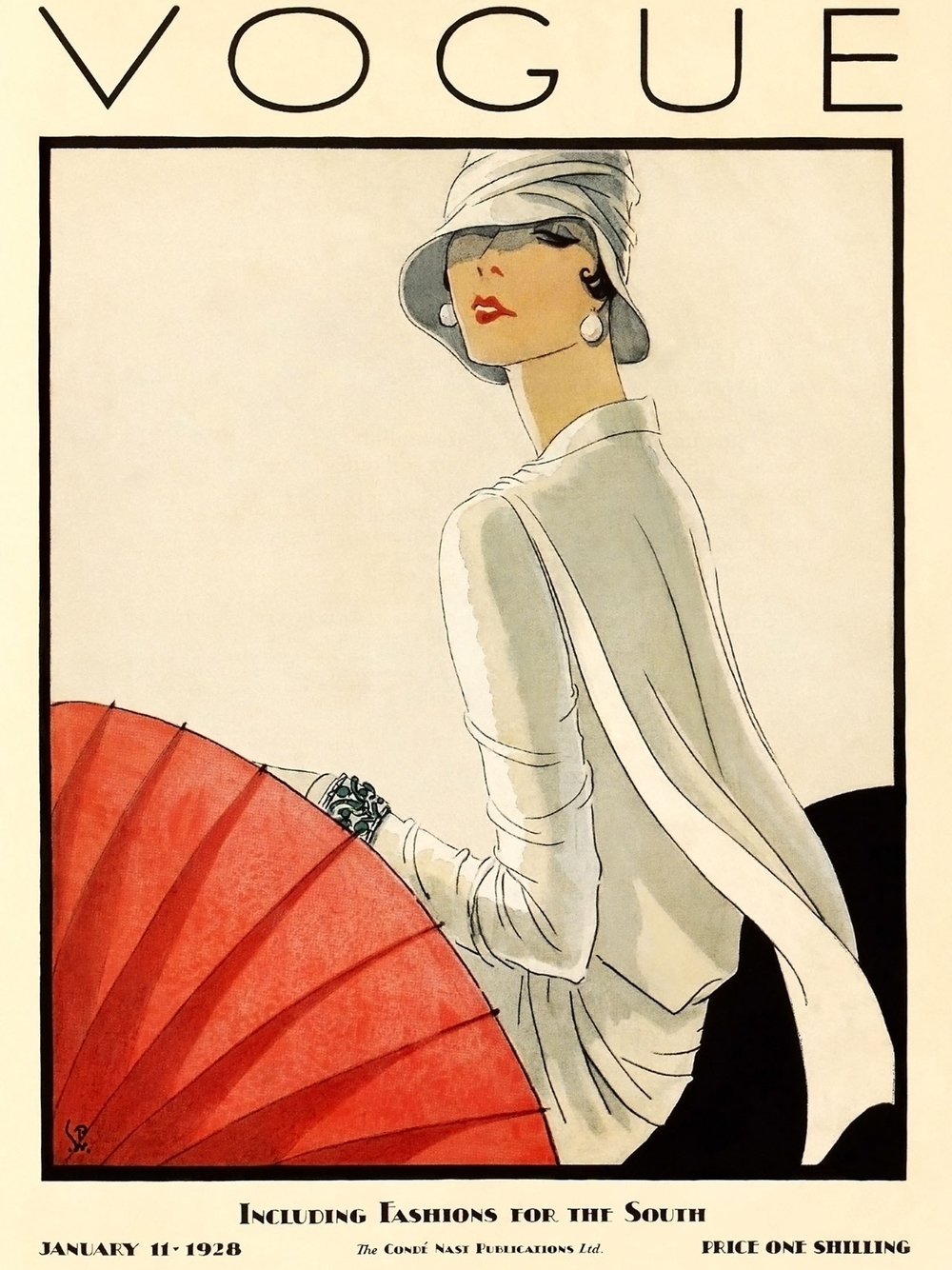 Vintage Vogue Cover January 1928