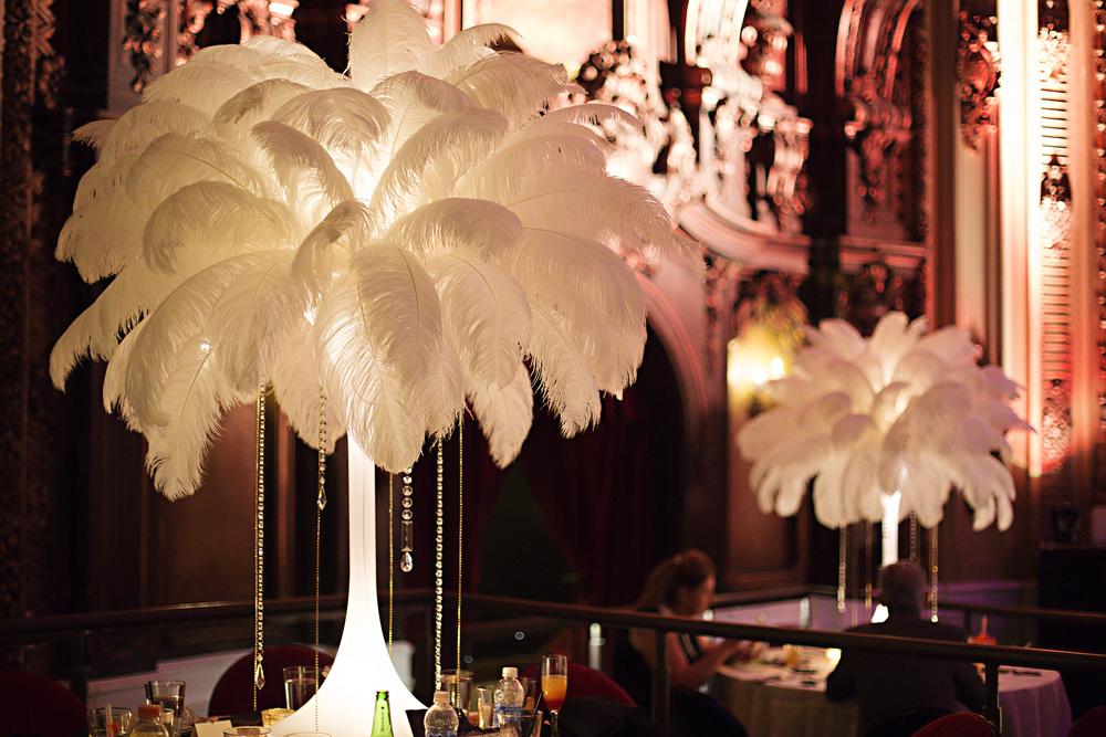 Art Deco Wedding Feather Centerpieces