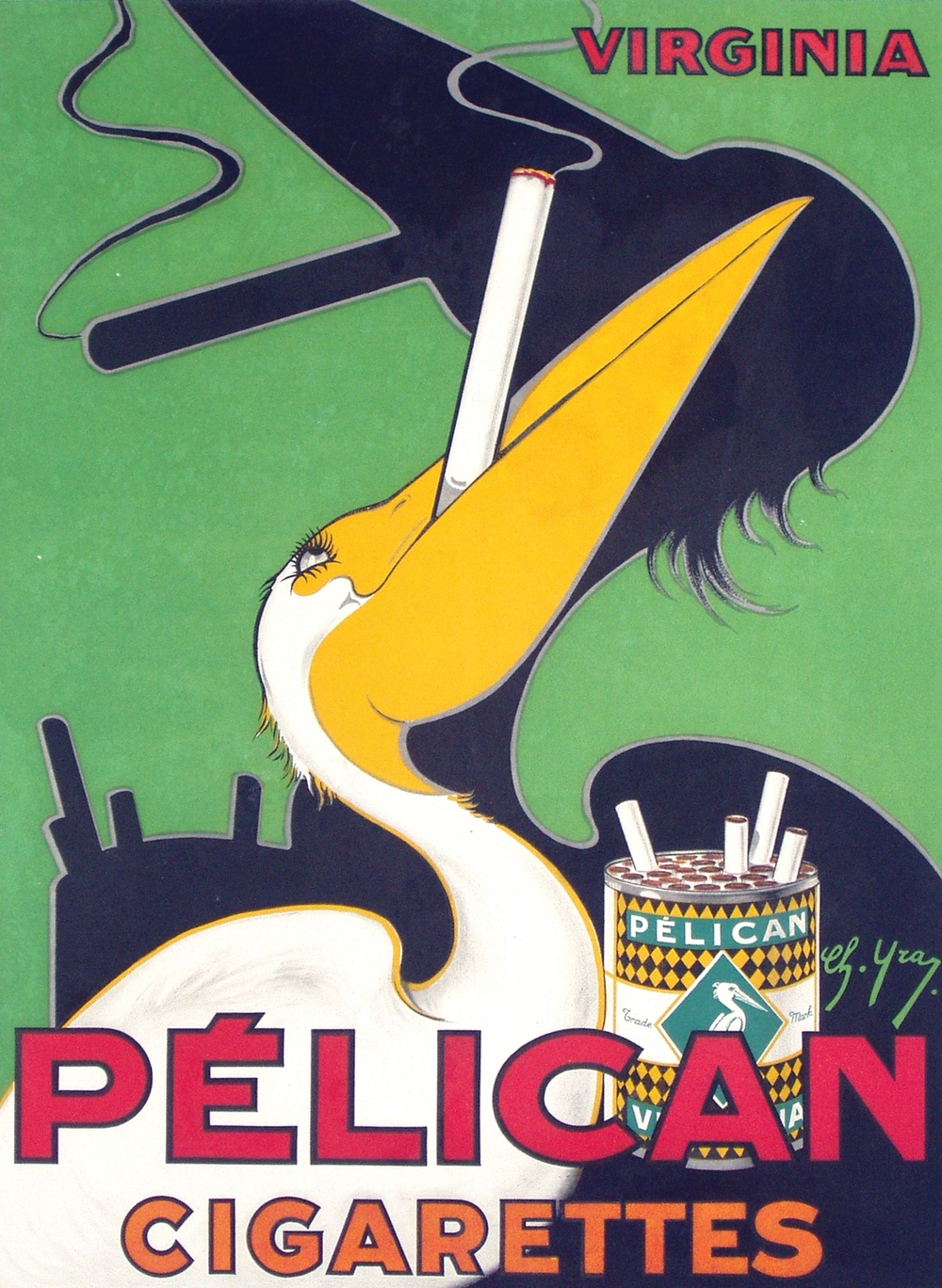 """""""Pelican Cigarettes"""" Art Deco Poster, circa 1930"""