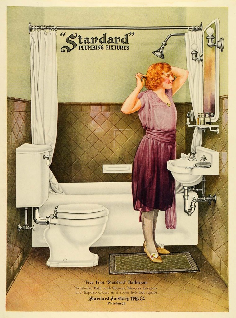 "Vintage 1920's Art Deco ""Standard Plumbing Fixtures"" Advertisement - Image courtesy: Slumberland.org"