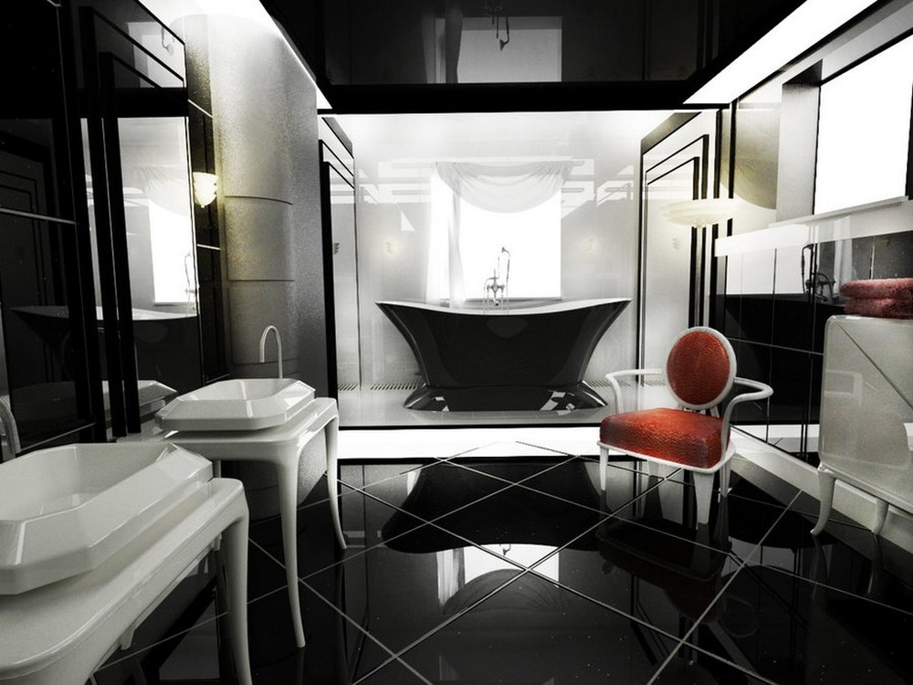 Contemporary Black and White Art Deco Bathroom