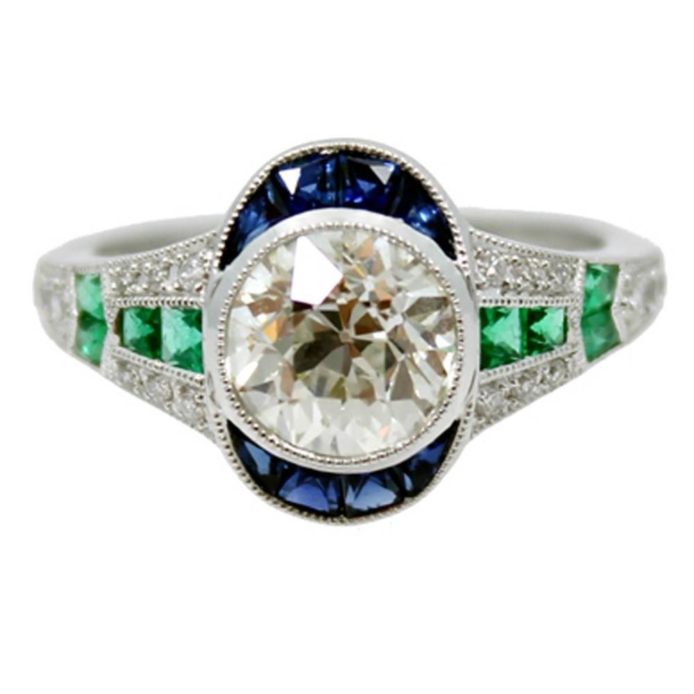 1.57 Carat Diamond Sapphire Emerald Platinum Ring