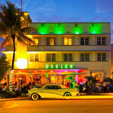 Art Deco Neon Lights - Avalon Hotel, South Beach Miami
