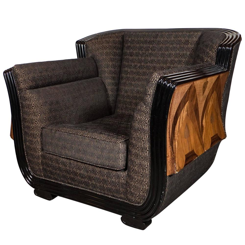 Merveilleux Art Deco Club Chair With Exotic Wood Inlay Design And Black Lacquer