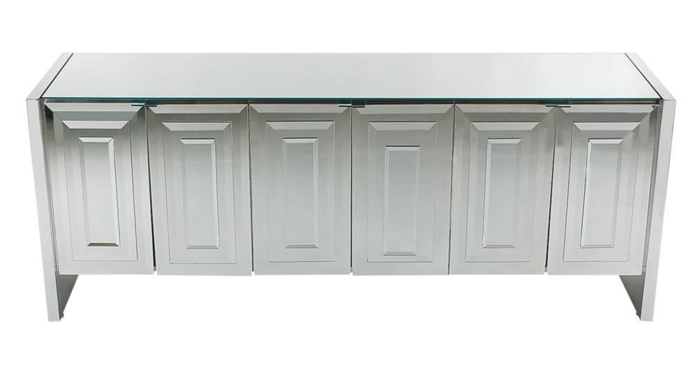 Mirrored Art Deco Credenza / Cabinet By Ello After Pierre Cardin Or Paul  Evans   Image