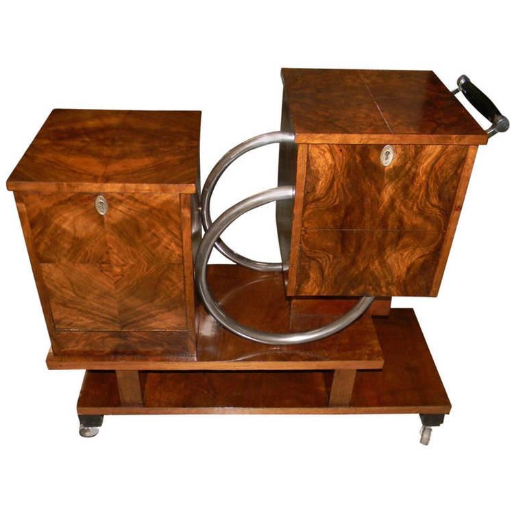 Art Deco Chrome and Wood Rolling Liquor Cabinet - Image courtesy: Artdecocollection.com