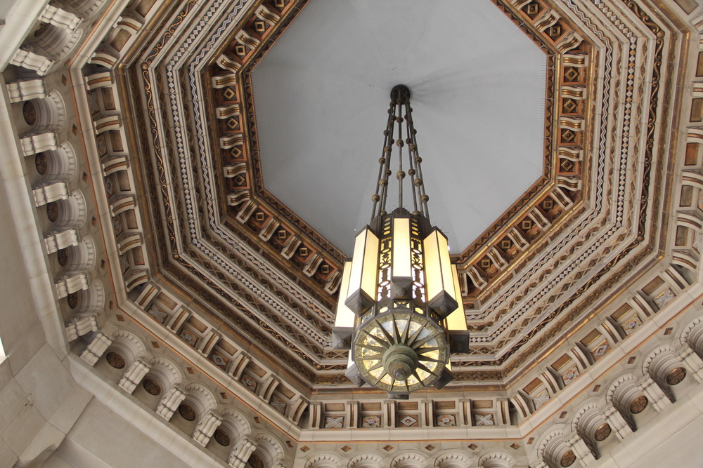 One Bunker Hill Art Deco Lobby Chandelier -  Image courtesy:    dtlaexplorer.wordpress.com