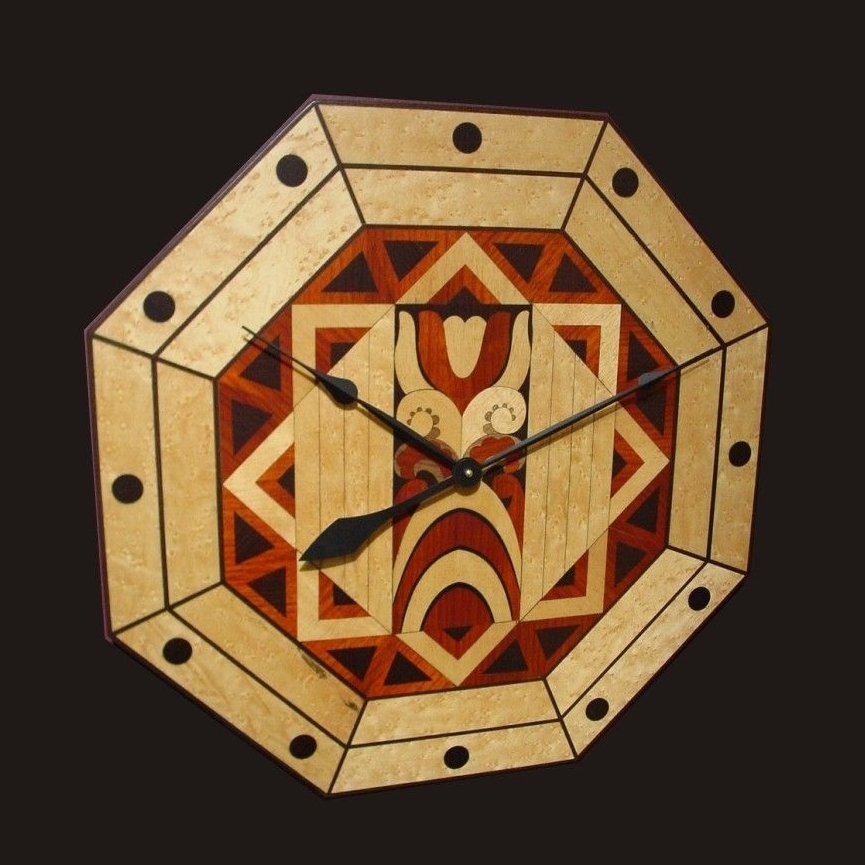 Art Deco Marquetry Wood Wall Clock