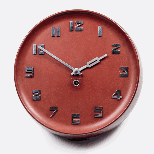Philips Red Bakelite Art Deco Industrial Wall Clock