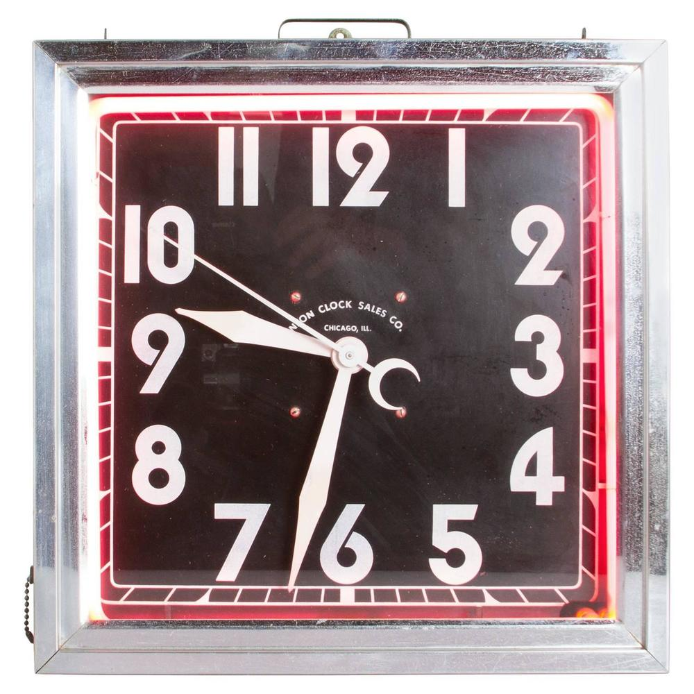 Graphic Art Deco Square Neon and Chrome Wall Clock