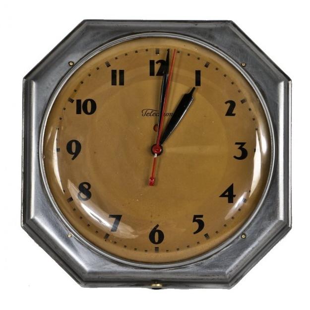 Art Deco Factory Foreman's Office Steel Wall Clock