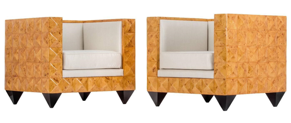 Stunning Pair of Unusual Art Deco Burr Walnut Geometric Pyramid Armchairs - Image courtesy: 1stdibs.com