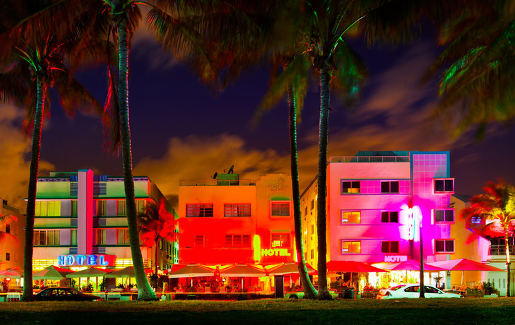 Colourful South Beach Miami Art Deco District