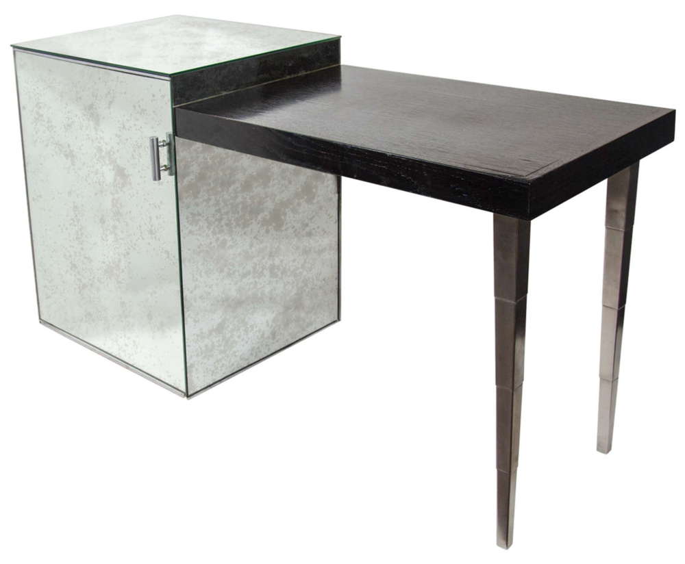 Rare Art Deco Desk with Ebony Top and Antique Mirrored Cabinet - Image Courtesy: 1stdibs.com