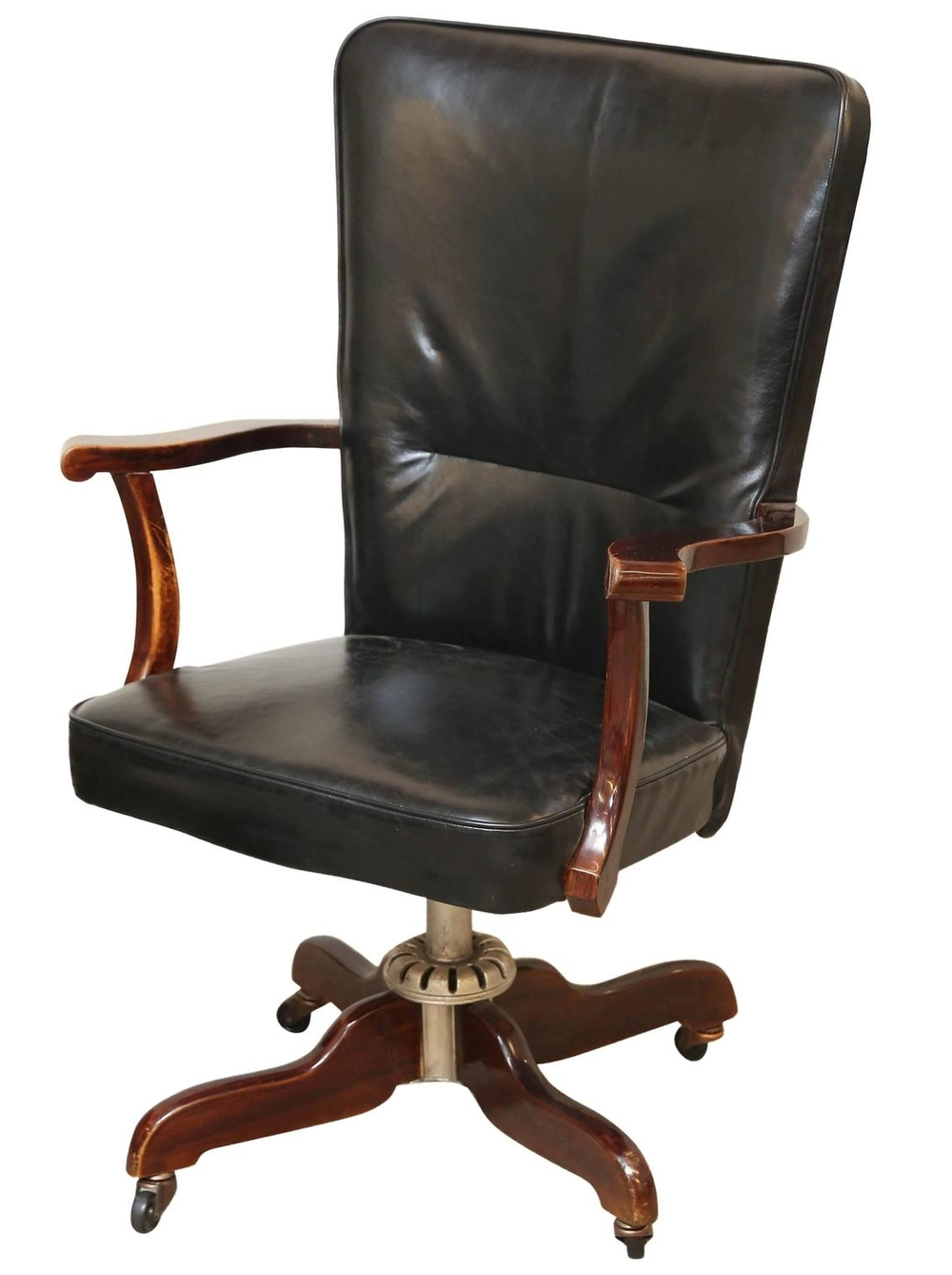Leather Art Deco Swivel Desk Chair