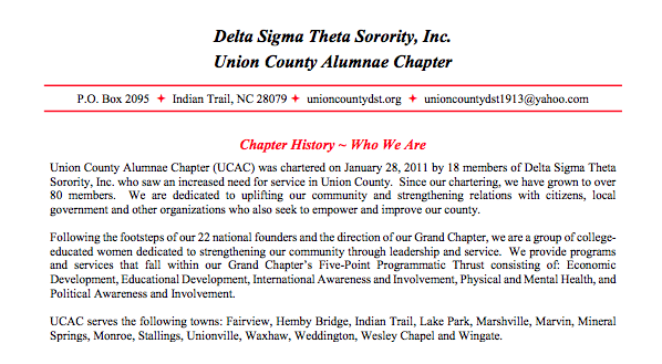 WHO ARE WE? - Click here to learn more about the Union County Alumnae Chapter of Delta Sigma Theta Sorority, Inc.