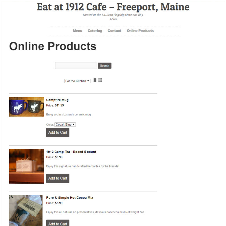 1912 Cafe Online Store