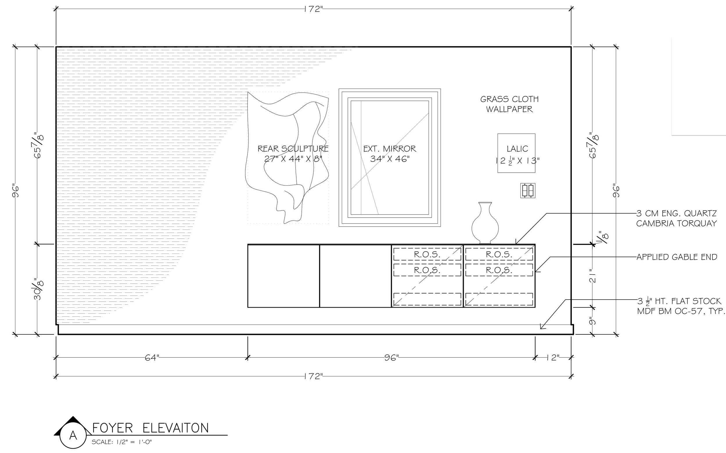 The elevation view: showing where the Lalique piece is going above those custom MITERED and BESPOKE cabinet pieces.