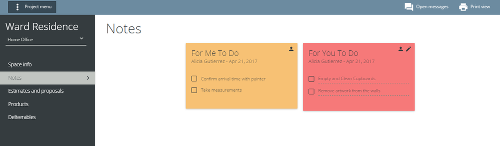 Checklists or other items are available to view in Notes. Different colours depend on urgency with red being the most important.