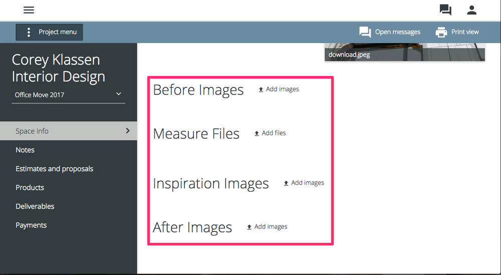 "Navigate to ""Space Info"" and look for the ""Add Image"" or ""Add File"" text, select that."