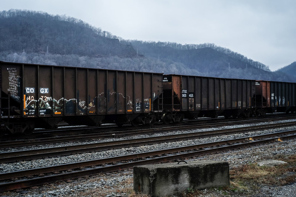 Freight car with Henry's graffiti, Dickinson WV, December 2016