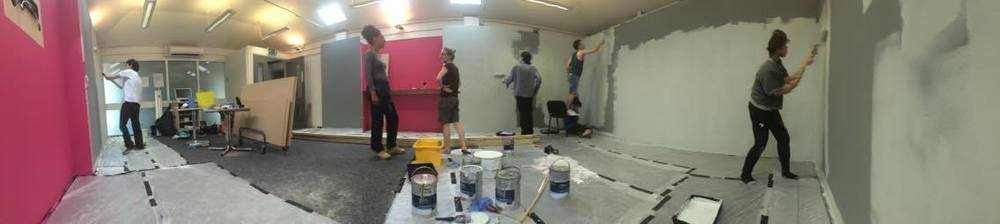 A beautiful panoramic view of the gradshow being painted the wrong colour