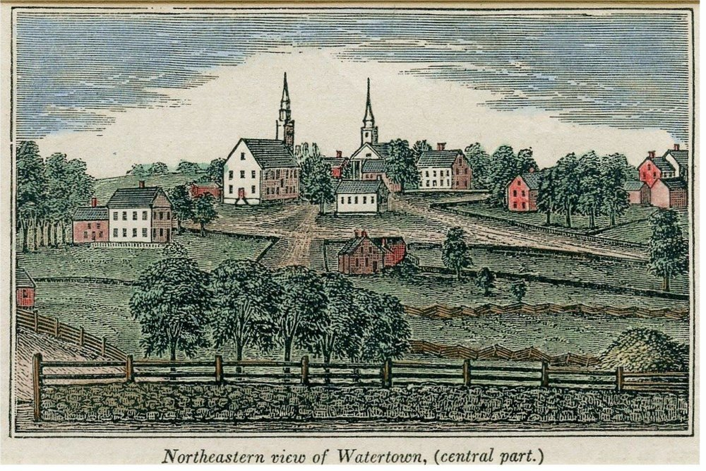 John Warner Barber (1798-1885) Watertown drawn in 1836. Read more here:  Florence T Crowell's Collection