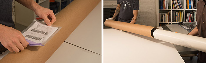 Shipping large prints in tubes