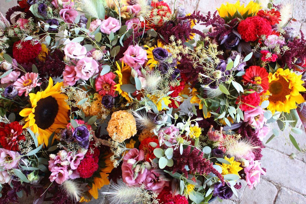 Very colorful August bouquets