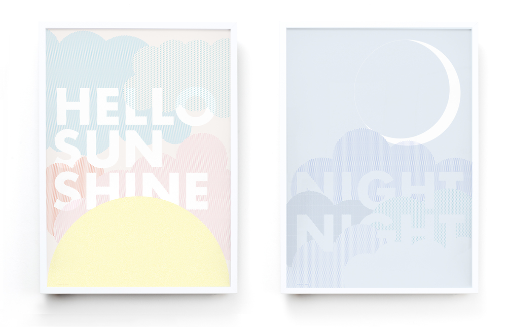 FRIDAY & TODAY • Hello Sunshine and Night Night Posters• Available at www.fridayandtoday.com
