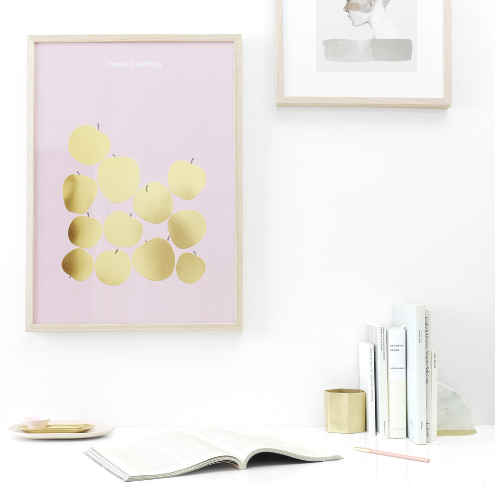 FRIDAY & TODAY • Twelve Apples Art print — Gold Foil • Styled by @friday_andtoday • Available at www.fridayandtoday.com