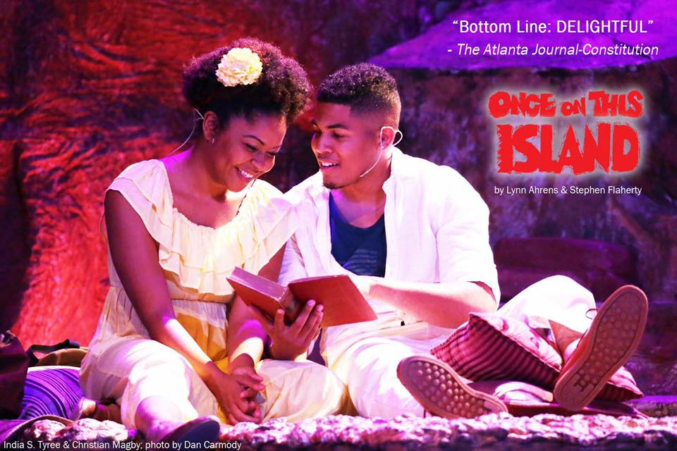 India S. Tyree and Christian Magby in  Once on This Island.  Georgia Ensemble Theatre. Photo by Dan Carmody. 2017.
