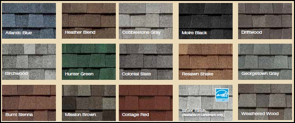 We only use certified shingles with the same batch number. Talk to a representative for more color choices, examples above are for CERTAINTEED Landmark shingles.