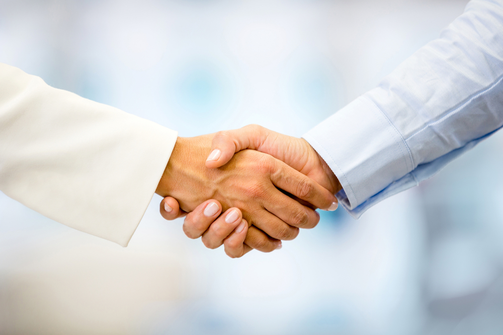This is an example of a proper firm handshake.