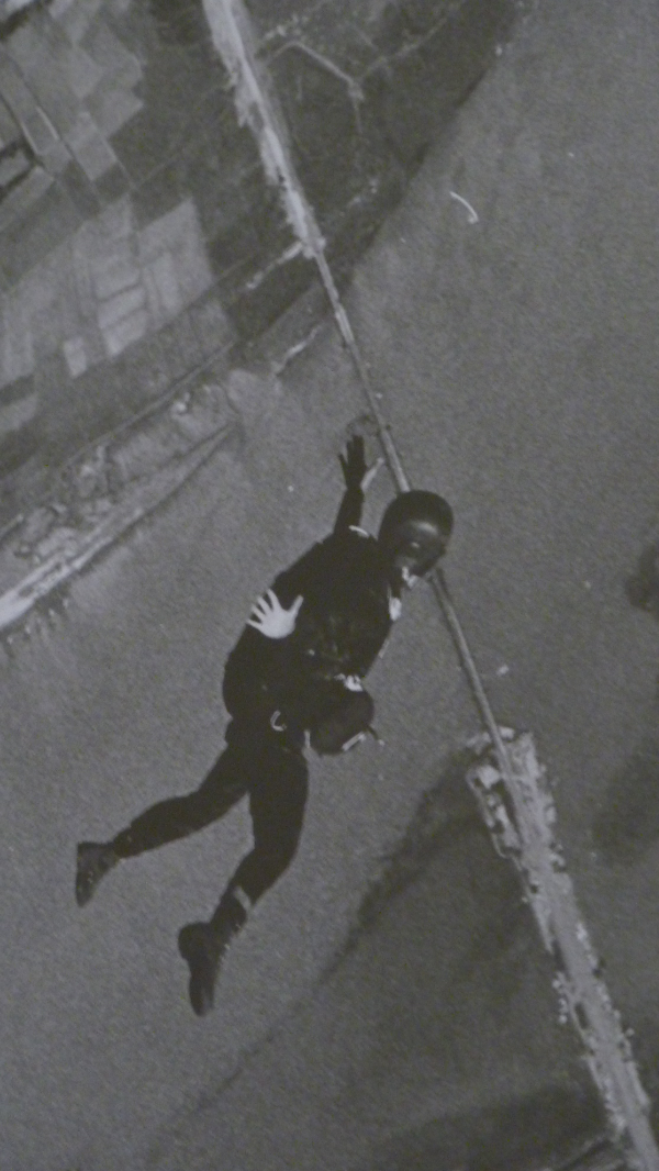 Tom freefalling during a high altitude parachute jump over the Da Nang River, Vietnam,  1964