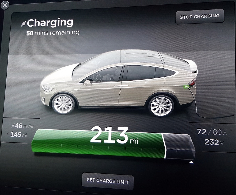 Here's what the display looks like on our touchscreen during charging. We stopped in Bend, OR, to explore the town. While at the destination charger at the Riverbend Hotel, we enjoyed a lovely lunch at their restaurant overlooking the river, then took a pleasant walk.