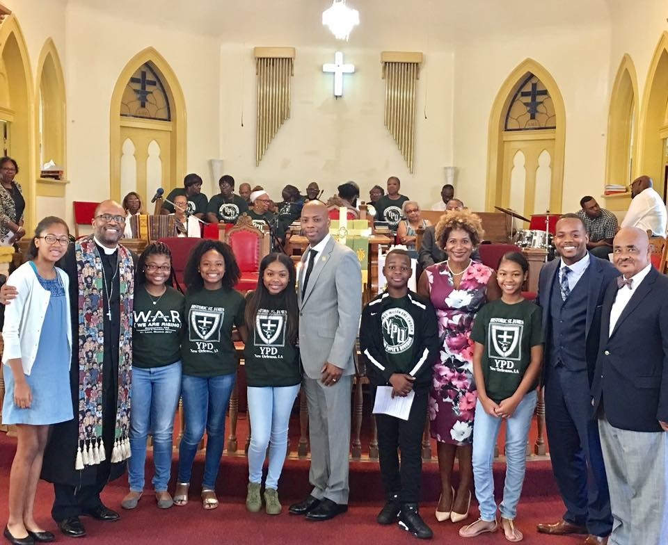 "Superintendent Henderson and I were asked to participate in a ""Back to School"" Program at Pastor Jay Augustine's Historic St. James AME Church."
