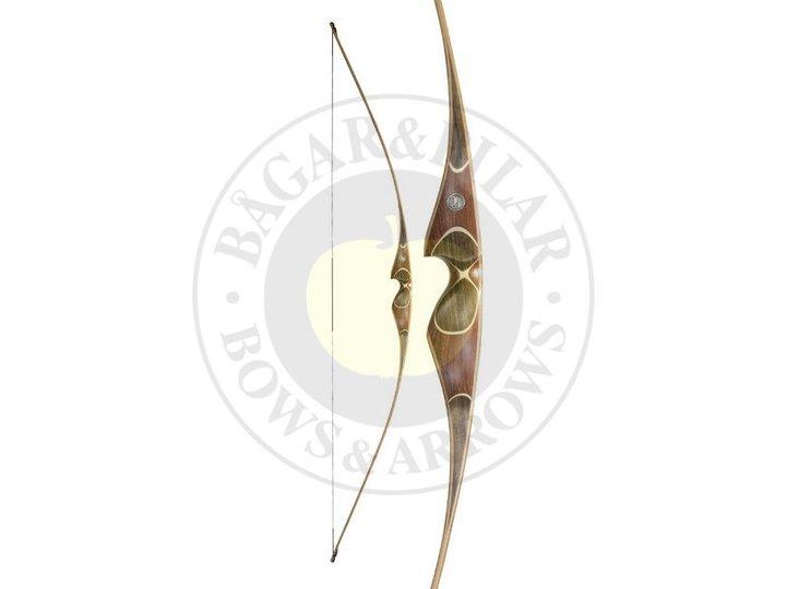 Modern långbåge - Den mest använda långbågen idag har en större handtagssektion, stock, för att ge lite mer tyngd och stabilitet i pilbågen.
