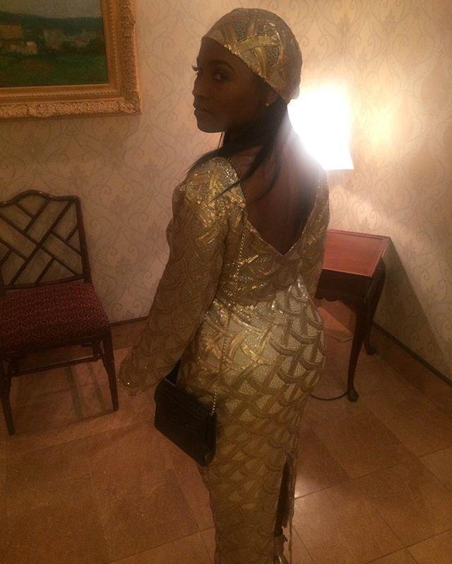 Details Matter! TDM client wore a gold metallic sequence dress with a match headpiece.  #TDMCustom #TDM